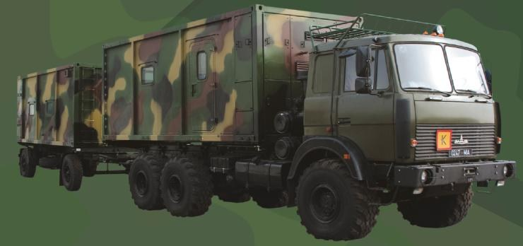 Command vehicle with a container-type body of constant capacity (for work) with command trailer (for rest)