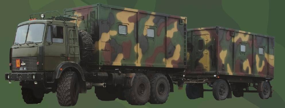 Command vehicle with a container-type body of constant capacity (for work) with command trailer (for work)