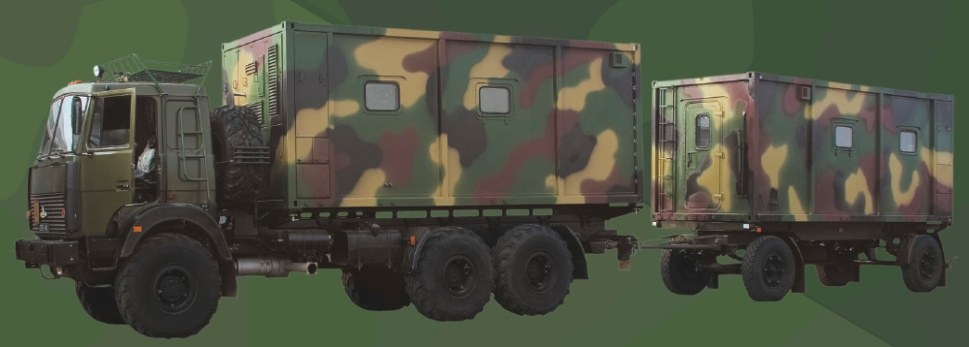 Command vehicle with a container-type body of constant capacity (for restricted and security unit) with a command trailer (for rest)