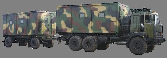 Mobile field kitchen with accommodation module